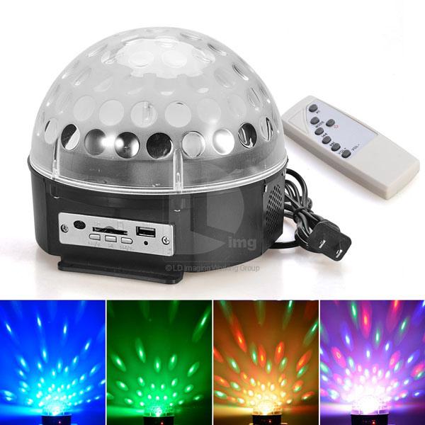 LED Диско лампа с усилвател, MP3 и дистанционно