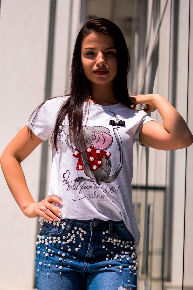 Сива тениска с мишка и тюл