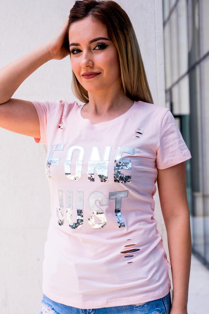 Светло розова тениска FONE JUST