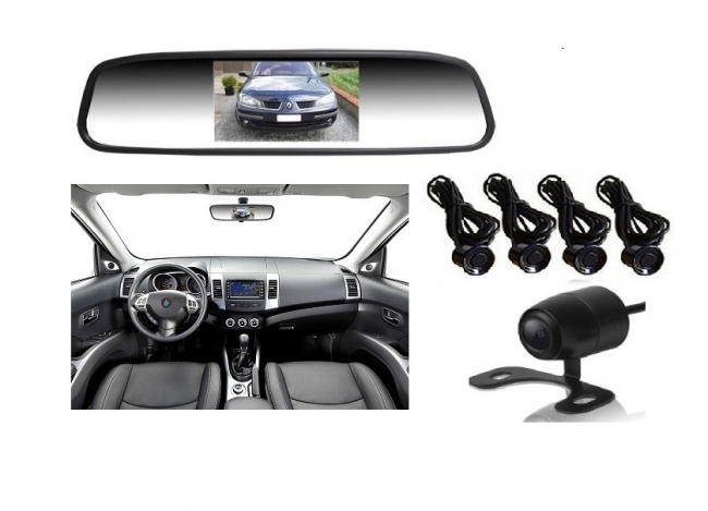 Огледало + камера за паркиране и парктроник за кола АТ 112M