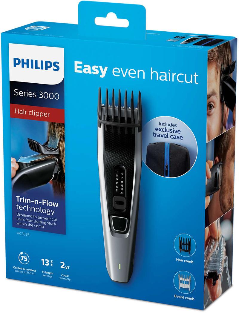 Philips Машинка за подстригване Series 3000,13 настройки за дължина, безжична работа