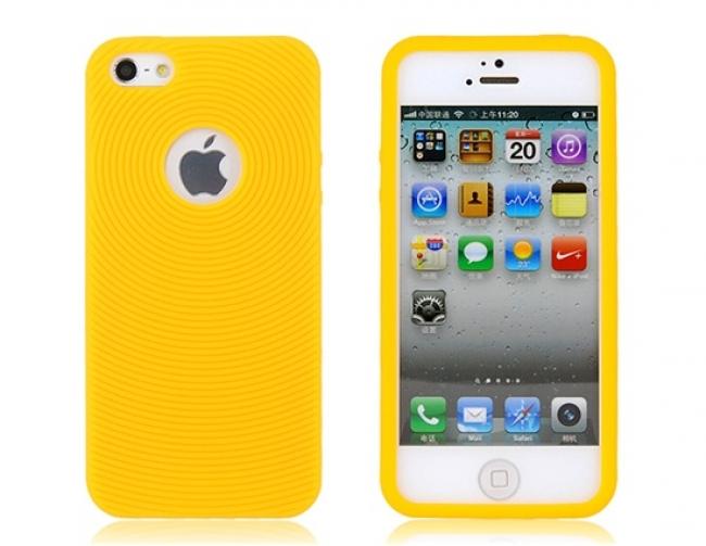 Жълт силиконов калъф за iPhone 5/5s с дупка