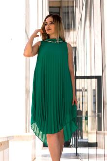 Зелена официална рокля с перли